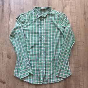 J. Crew Green Plaid Tuxedo Front Button Down Top